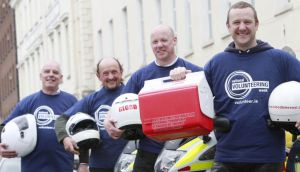 From left to right: Michael Noonan, Derek Cummins, Ian Bradley, secretary, and PJ Gallagher, patron and volunteer, of Blood Bike East.