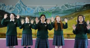 Members of the choir rehearsing at the school in Cabra for Christmas carol performances. Photograph: Alan Betson