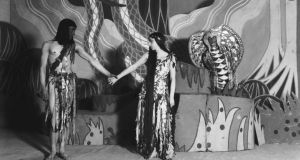 Staging: Barry Jackson's production of Back to Methuselah at the Court, in London, with Colin Keith Johnson as Adam, Gwen Ffrangcon-Davies as Eve and Edith Evans as the serpent, in 1924. Photograph: Getty