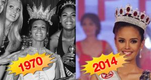 Jennifer Hosten of Grenada (left) was Miss World 1970. Megan Young of the Philippines (right) is the reigning Miss World. Spot the difference in our 1970 - 2014 picture show (below). Some things really don't ever change. Illustrations: Paul Scott