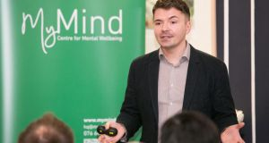 Krystian Fikert speaking about MyMind, a psychological centre he set up which offers advice and counselling. Photograph: Naoise Culhane