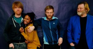 Domhnall, Brian and Brendan Gleeson and Leona Allen, who will star in The Walworth Farce in the new year. Photograph: Aidan Crawley