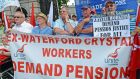 Former Waterford Crystal workers at a Unite rally outside Leinster House last year  calling on the Government to protect the workers' pension entitlements