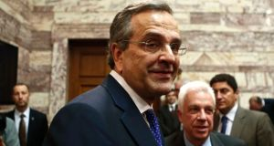 Greece's prime minister and leader of New Democracy party Antonis Samaras: made  a surprise announcement that he was bringing the election for a new head of state forward by two months. Photograph: Alkis Konstantinidis/Reuters
