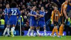 Chelsea's Diego Costa is congratulated by Branislav Ivanivich and Nemanja Matic after doubling his side's lead during the 2-0 win over Hull City at Stamford Bridge
