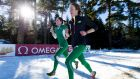 Fionnuala Britton (right) and Sara Treacy helped Ireland  claimed the bronze in the women's  team event at the   European Cross-Country in  Samokov, Bulgaria. Photograph: Sasa Pahic Szabo/Inpho