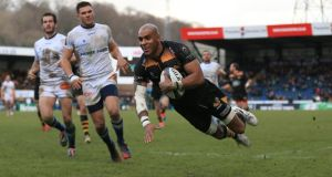 Wasps' Tom Varndell scores his second try of the game against Castres Olympique during the European Champions Cup Pool Two match at Adams Park in High  Wycombe. Photograph:  Nigel French/PA