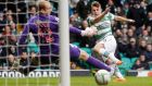 Celtic's James Forrest scores his side's second goal during the Scottish Premier League match  against St Mirren at Celtic Park. Photograph:  Danny Lawson/PA