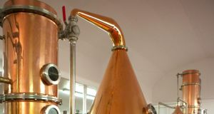 "Copper stills at the new Drumshanbo distillery ""The Shed"""
