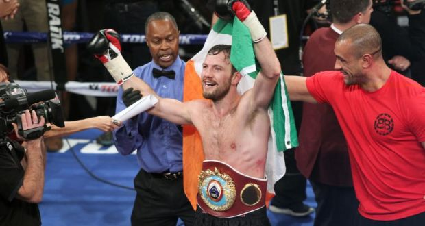 Andy Lee celebrates becoming WBO middleweight world champion after victory over Matt Korobov at the The Cosmopolitan in Las Vegas. Photograph: INPHO/Raymond Spencer