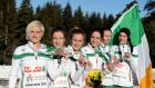 Annmarie McGlynn, Fionnuala Britton, Michelle Finn, Sara Treacy, Siobhan O'Doherty and Laura Crowe show off their medals in Samokov yesterday. Photograph: Sasa Pahic Szabo/Inpho