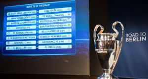 The match fixtures are shown on a panel following the draw of the round of 16 soccer matches of the UEFA Champions League 2014/15 in Nyon, Switzerland, Monday, Dec. 15, 2014. The final is scheduled for June 6 at the Olympic Stadium in Berlin. (AP Photo/Keystone,Jean-Christophe Bott)