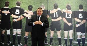New Zealand All Blacks coach Steve Hansen poses after announcing his re-signing as coach. Photograph:  Mark Tantrum/Getty Images