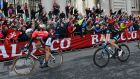 Marcel Kittel crossing the line in front of Government Buildings in Dublin, to win stage three of the Giro d'Italia on May 11th 2014. Photograph: Eric Luke/The Irish Times
