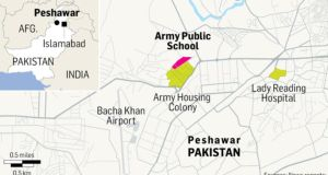 A map showing the location of the attack on the  Army Public School, in Peshawar. Graphic: Reuters / Irish Times Studio