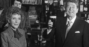 US president Ronald Reagan and his wife, Nancy, in the Ronald Reagan Pub in Ballyporeen, Co Tipperary, in 1984. Photograph: Pat Langan
