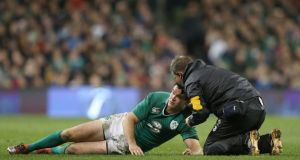Johnny Sexton was one of three Ireland players to suffer head injuries during the Autumn Internatonal against Australia. Photograph: Colm O'Neill/INPHO