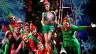 Ben Forster (right) and Aoibhinn McGinnity (top) with cast members of Elf at the Bord Gais Energy Theatre, Dublin. Photograph: Brian Lawless/PA Wire