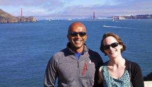 Sarah Tharakan and her husband Nithin at the Golden Gate Bridge in San Francisco
