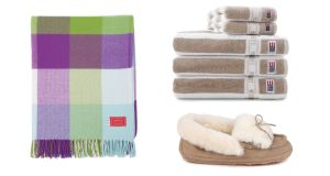 Milan cashmere throw €114.95 Avoca Beige stripe towel from €19 Lexington at The Elms Avondale Fold Slipper €72 Just Sheepskin at Brown Thomas