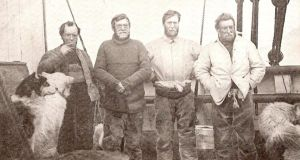 Undated Shackleton Foundation handout photo showing Sir Ernest Shackleton's South Pole expedition team, (from left to right);  Frank Wild, Sir Ernest Shackleton, Eric Marshall and Jameson Boyd-Adams. Photograph: PA