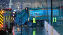 The scene in Glasgow's George Square where a  bin lorry has crashed into a group of pedestrians. Photograph: Danny Lawson/PA Wire.