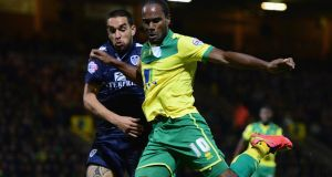 Giuseppe Bellusci of Leeds United battles with Cameron Jerome of Norwich City   at Carrow Road. Photograph:  Jamie McDonald/Getty Images