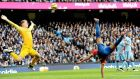 Manchester City's Joe Hart in action against Crystal Palace  at the Etihad Stadium, a game in which City registered their eighth win in sucession. Photograph: Peter Powell/EPA