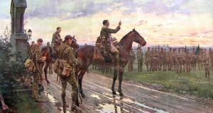 The Last General Absolution of the Munster Fusiliers at Rue de Bois, a painting by Italian artist Fortunino Matania, depicting the front line near where Capt Arthur O'Sullivan took part in the 1914  truce during the first World War