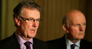 Ulster Unionist Party leader Mike Nesbitt (left) at Stormont. Photograph: Brian Lawless/PA Wire.