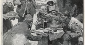 'Christmas at the Front - Unpacking the Parcels from Home' by the British official first World War artist Fortunino Matania, from the recently published book 'Goodbye, Old Man: Matania's Vision of the First World War' by Lucinda Gosling in association with the Mary Evans Picture Library.