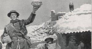 An illustration of Fr Ned Dowling during the first World War in 'Christmas at the Front - Unpacking the Parcels from Home' by British official war artist Fortunino Matania, taken from 'Goodbye, Old Man: Matania's Vision of the First World War' by Lucinda Gosling in association with the Mary Evans Picture Library.