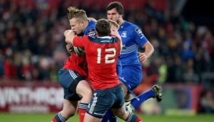 Dave O'Callaghan scores a try for Munster against Leinster at Thomond Park. Photograph: Dan Sheridan/Inpho