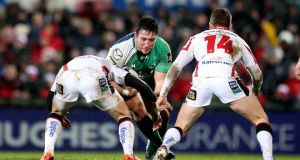 Connacht's Denis Buckley takes on the Ulster defence. Photograph: James Crombie/Inpho