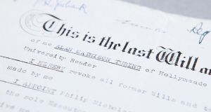 The will of Alan Turing. He died of cyanide poisoning and his death is still widely speculated on as either suicide or  murder. Photo: Ministry of Justice/PA Wire