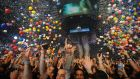 Concert goers celebrate the New Year at Madison Square Garden  in New York City. PhotographBrad Barket/Getty Images