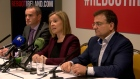 Former Fine Gael Minister Lucinda Creighton, Independent Offaly Councillor John Leahy and financial commentator Eddie Hobbs at the announcement of the new party in Dublin. Video: Daniel O'Connor