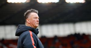Manchester United manager Louis Van Gaal watches his team in action at the Britannia Stadium. United are just three points better off than they were after 20 league games last season. Photograph: Darren Staples/Reuters