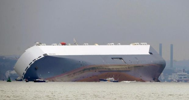 Car carrier deliberately grounded to prevent it capsizing