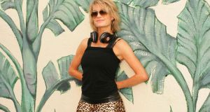 Jane Shortall in black leopardskin harem pants, €54, Urban Outfitters; T-shirt, €7