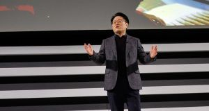 LG Electronics President and Chief Technology Officer Skott Ahn speaks at the company's press conference ahead of CES in Las Vegas. Photograph: David Becker/Getty Images