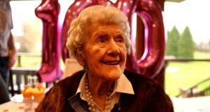 Alice O Donovan celebrating her 100th birthday at Grange Golf Club where she played twice a week until seven years ago.  Photograph: Cyril Byrne/The Irish Times