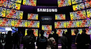 Samsung SUHD TVs at  CES. Photograph: David Becker/Getty Images