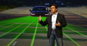 Mark Fields of Ford talks about Ford Smart Mobility at CES. Photograph: EPA/MICHAEL NELSON