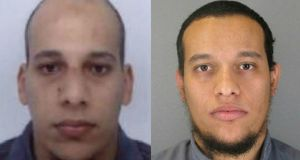 French police have released photographs of the brothers Cherif Kouachi (L) and Said Kouachi, who are suspects in the Charlie Hebdo shooting that killed 12 people.