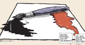 A drawing by Irish Times Cartoonist Martyn Turner in response to the attack on Charlie Hebdo.