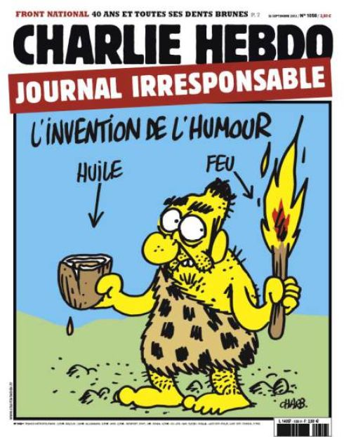 In this cover, the newspaper called itself an irresponsible newspaper, and likening itself to a Neanderthal, claiming that the invention of humor is the process of adding fuel to the fire.