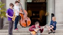 Jazz Trio from the Errigal Groove Orchestra, featuring twins Conor (double bass) and Micheál Murray (saxophone) and Emmet Doherty, (guitar), with Rosaleen Molloy, director of Music Generation