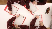 Children from St Columba's National School in Dublin taking part in a Fighting Words workshop. Photograph: Dara Mac Dónaill