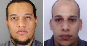 Undated handout photos issued by Judicial Police of Paris of Said Kouachi (left) and Cherif Kouachi, the two prime suspects in the Paris attack.